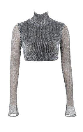 Clothing : Tops : 'Tamara' Silver Lurex Cropped Top