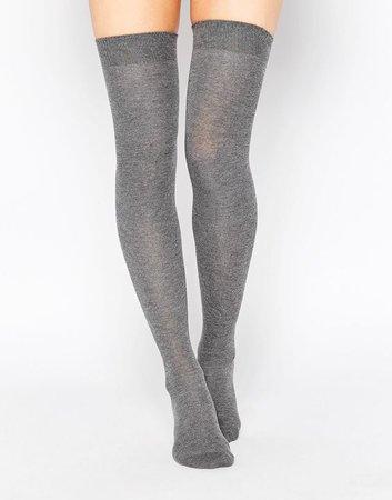 Grey Knee High Socks