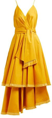 Ladies Who Lunch Tiered Poplin Midi Dress - Womens - Yellow