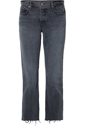 GRLFRND | Tatum cropped frayed mid-rise straight-leg jeans | NET-A-PORTER.COM