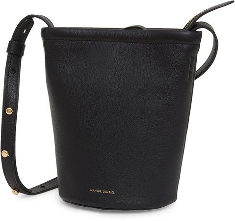 Mini Leather Zip Bucket Bag