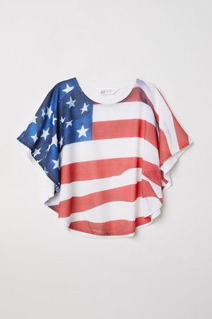 Wide-cut American Flag Printed Top