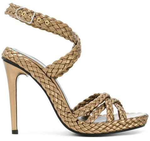 woven side buckle sandals