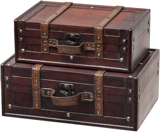 Amazon.com: SLPR Decorative Suitcase with Straps (Set of 2, Brown) | Old-Fashioned Antique Vintage Style Nesting Trunks for Shelf Home Decor Birthday Parties Wedding Decoration Displays Crafts Photoshoots: Gateway