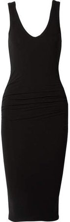 Ruched Stretch-cotton Jersey Midi Dress - Black
