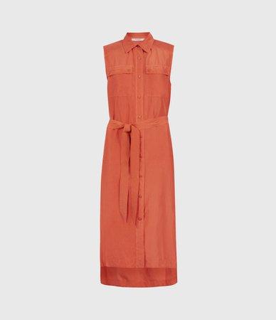 ALLSAINTS US: Womens Esthie Silk Dress (hot_tango_orange)