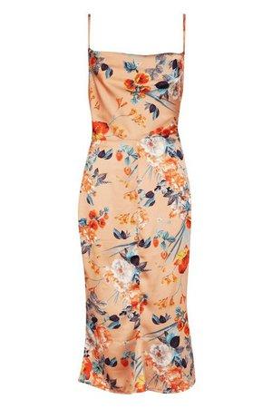 Satin Floral Cowl Flute Hem Slip Dress | Boohoo
