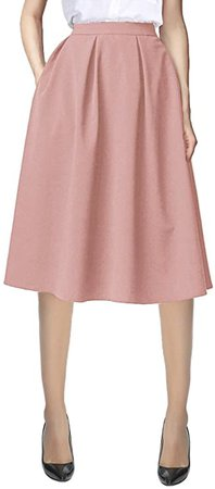Urban CoCo Women's Flared A line Pocket Skirt High Waist Pleated Midi Skirt at Amazon Women's Clothing store