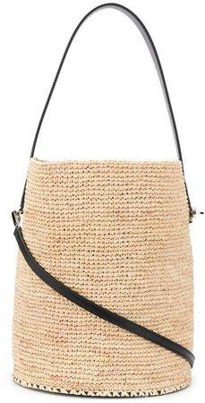 leather-trimmed bucket bag