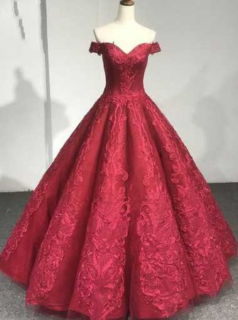 Ball Gown Off-the-Shoulder Dark Red Tulle Appliques Prom Dress - Prom Dresses - US$ 165.99 | Simple-dress.com