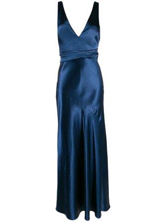 Blue Galvan Metallic Bella dress - Farfetch
