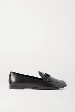 Embellished Leather Loafers - Black