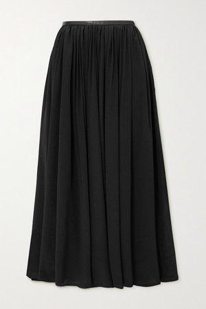 Beja Leather-trimmed Crepe De Chine Skirt - Black