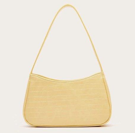yellow baguette shoulder bag