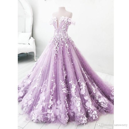 Romantic Lavender 3D Flower Wedding Dresses Dubai Bead Crystal Tulle Bridal Gown
