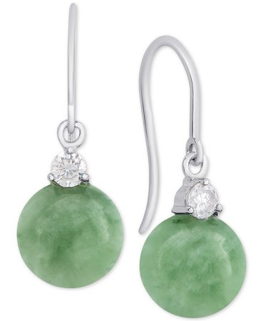 Macy's Sterling Silver Dyed Jade & Cubic Zirconia Drop Earrings