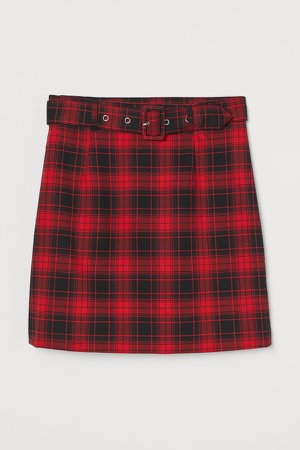 Short Skirt with Belt - Red