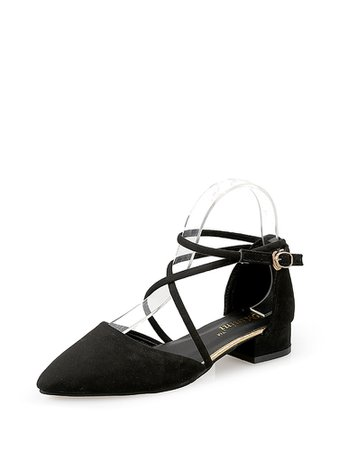 Criss Cross Pointed Toe Block Heels