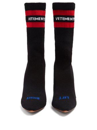Logo-jacquard sock ankle boots   Vetements   MATCHESFASHION.COM UK