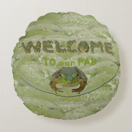 Welcome to our Pad Frogs Round Pillow | Zazzle.com