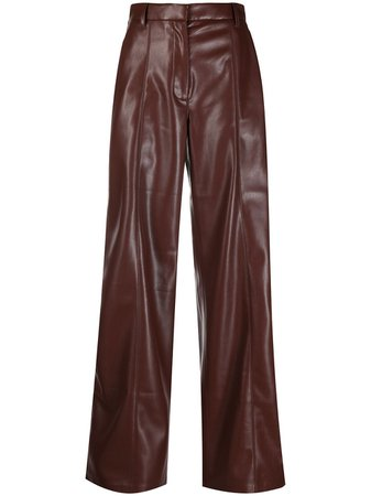 Shop brown Nanushka Cleo wide-leg trousers with Express Delivery - Farfetch