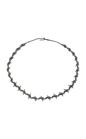 Black Rhodium Silver Black Diamond Choker by Lynn Ban Jewelry | Moda Operandi