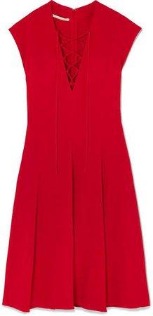 Lace-up Stretch-cady Dress - Red