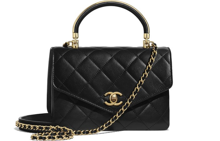 Small Flap Bag With Top Handle, calfskin & gold-tone metal, black - CHANEL