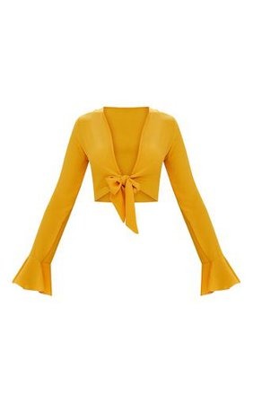 Mustard Tie Front Frill Sleeve Blouse   Tops   PrettyLittleThing