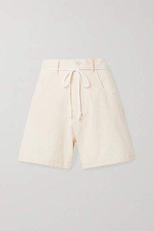 Paradised - Calvin Belted Cotton-crepe Shorts - Ivory