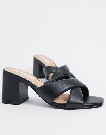 Stradivarius heeled sandal in black | ASOS