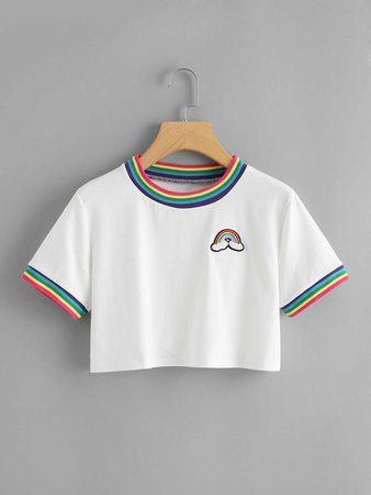 Striped Neck Rainbow Patch TeeFor Women-romwe