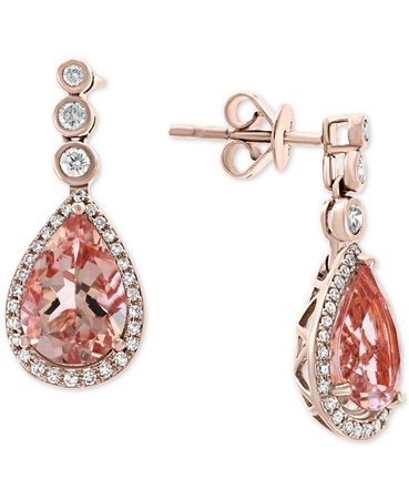 EFFY Collection EFFY® Morganite (4-3/8 ct. t.w.) & Diamond (1/3 ct. t.w.) Drop Earrings in 14k Rose Gold & Reviews - Earrings - Jewelry & Watches - Macy's