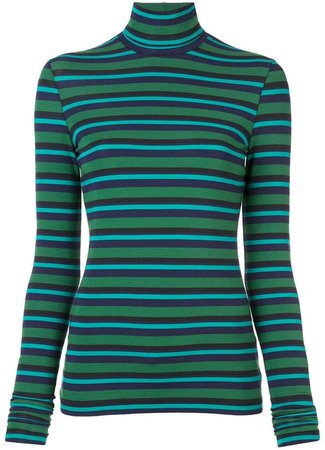 stripe turtle-neck fitted top