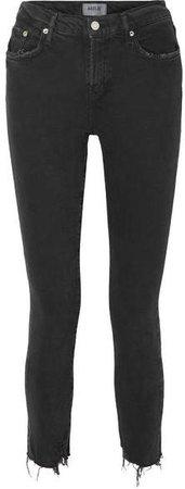 AGOLDE - Toni Distressed Mid-rise Skinny Jeans - Black