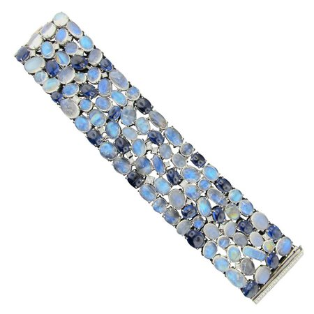 Diamond, Moonstone and Kyanite Bracelet set in 18KT white gold For Sale at 1stDibs
