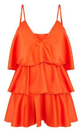 Bright Orange Satin Plunge Tiered Shift Dress - Vacation Shop - Shop By..   PrettyLittleThing USA