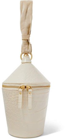 STAUD - Minnow Croc-effect Leather And Suede Tote - White