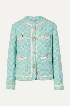 Mint Cotton-blend jacquard jacket | Gucci | NET-A-PORTER