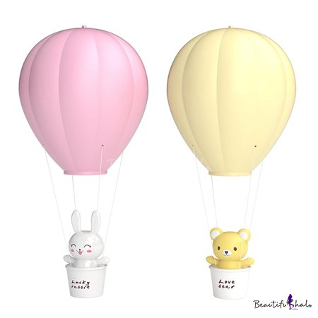Hot Air Ballon Yellow/Pink Kids Ceiling Pendant Night Light with Touch/Remote Control - Beautifulhalo.com