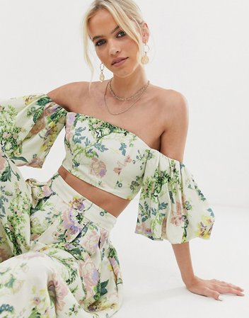 ASOS EDITION puff sleeve off shoulder top in floral print | ASOS