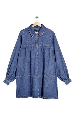 Topshop Long Sleeve Denim Babydoll Dress | Nordstrom