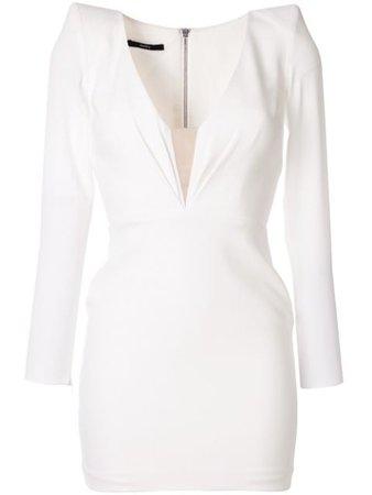 Alex Perry V-Neck Mini Dress D601 White | Farfetch