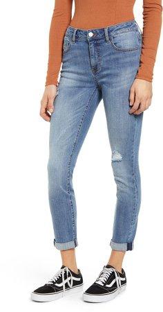 Distressed Cuffed Crop Skinny Jeans