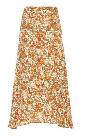 Faithfull The Brand Asiya High-Waisted Floral-Print Midi Skirt Size: M