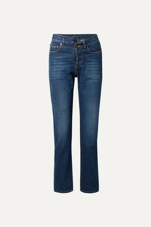 Embroidered High-rise Slim-leg Jeans - Mid denim