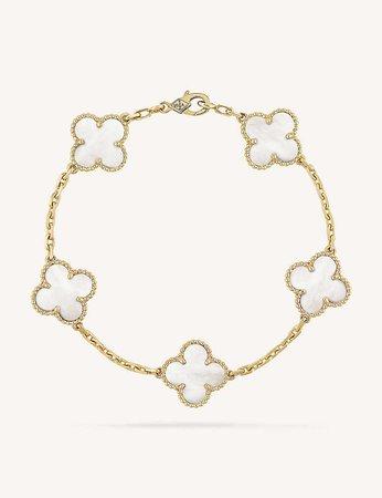 VAN CLEEF & ARPELS - Vintage Alhambra gold and mother-of-pearl bracelet | Selfridges.com