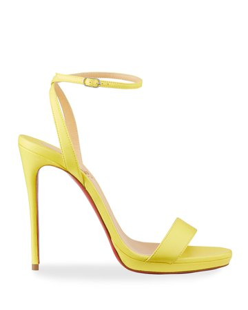 Christian Louboutin Loubi Queen Red Sole Ankle-Wrap Sandals