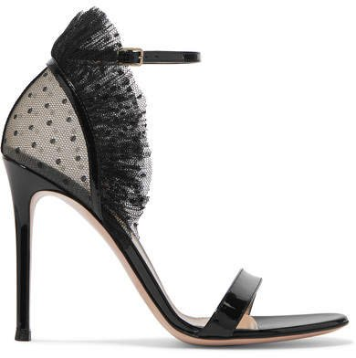 105 Ruffled Point D'esprit And Patent-leather Sandals - Black