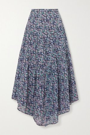 Pabna Asymmetric Floral-print Cotton-voile Midi Skirt - Blue